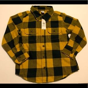 OLD NAVY plaid yellow and black dress shirt 4T NWT